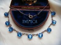 ART DECO Open Back Bezel Set Sapphire Cut Crystal Vintage DEMI RIVIERE NECKLACE