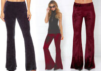 S-L Women's Crushed Velvet Bell Bottoms Pants Flared Leg Boho Hippie Stretchy