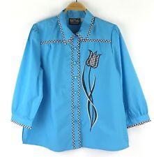 f440439d4c356 Bob Mackie Wearable Art Women s Blouse Sz L Blue Button Down Floral Gingham  Trim