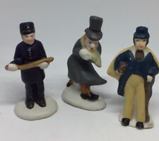 VTG Lot Of 3 Christmas Village Accessories Postman Police Man People Snow