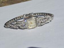 Vintage GENEVA 2ctw Diamond & Platinum Ladies Watch w/14K Gold Bracelet