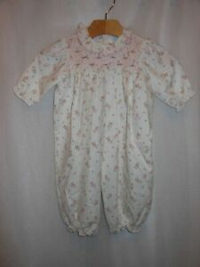 Baby Togs Infant Girls Smocked Romper Floral Tag 6-9 Mos 1 Piece White Pink NWT