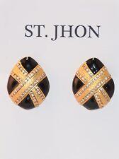 ST JOHN COLLECTION DESIGNER  EARRINGS CLIP-ON BLACK/22K GOLD PLATED
