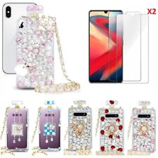 Bling Diamond Glitter Perfume Anti Fall Phone Cases With Glass Screen Protector