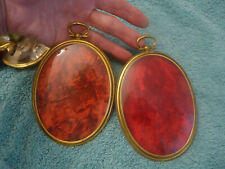 Antique Pair  Brass PICTURE FRAME Oval Convex Bubble Glass Victorian Velvet