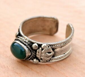 Adjustable Nepal Tibetan Silver Ring Amulet Jade Jewelry Stackable Ethnic Boho