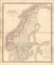 1844 LARGE ANTIQUE MAP- JOHNSTON - SWEDEN & NORWAY