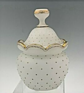 Exquisite French Opaline Glass White Covered Jar w/ Gold Enameled Dots