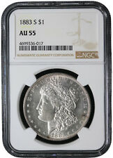 1883-S Morgan Silver Dollar NGC  AU-55  Certified Almost Uncircualted Coin 6017