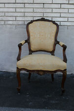 Beautiful Early 19th C French Louis Style Gilded Walnut Armchair, New Upholstery