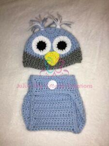 Crocheted Blue Owl Baby Photo Prop Halloween Costume Baby Shower Gift Photo Prop