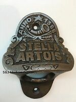 Stella Artois Bottle Top Opener Wall Mounted Vintage Antique Iron Retro Engraved