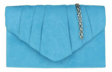 New Womens Suede Clutch Bag Pleated Flap Shoulder Chain Designer Handbag Evening