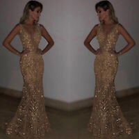 Women Long Mermaid Sequins Gold Formal Prom Wedding Party Evening Silver Dress