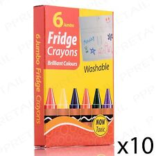 60 x EASY CLEAN COLOURING CRAYON SET Washable/Fridge/Locker/School/Kids/Children