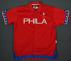 Philadelphia 76ers Vintage Nike Team Snap Warm-Up Shoot Around Shirt Jacket XL