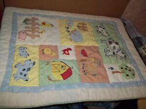 5 piece Kidsline Barnyard Farm Animals Crib Set Comforter/Quilt Skirt Valances