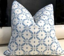 Crisp Blue/White accent pillow covers 22 X 22. Cottage style. Designers Fabrics