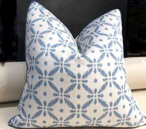 Crisp Blue/White accent pillow covers 22 X 22. Cottage style. Designers Fabrics