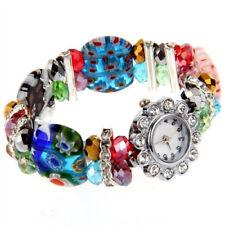 Crystal Rhinestone Lampwork Bracelet Bangle Flower Watch HOT I3T0