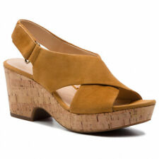 Clarks Ladies Wedge Sandals MARITSA LARA Ochre Suede UK 6 / 39.5 RRP £65