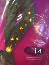 Ladies 80s Rock Chick Flames Roses Tights Hosiery Costume Fancy Dress Cosplay