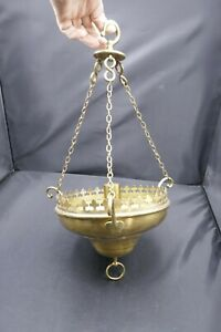 Vintage Gilt Brass Ecclesiastical Sanctury Single Candle Holder Sconce Light 70s