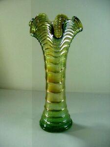 IMPERIAL CARNIVAL GLASS RIPPLE / DRAPERY PATTERN VASE -- HELIOS GREEN, 1920's