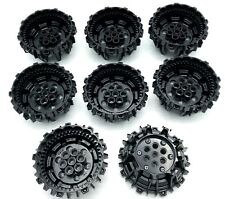 Lego 10 New Black Wheel Hard Plastic with Small Cleats and Flanges Pieces