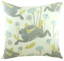 Evans Lichfield Country March Hare Dandelions Duck Egg Blue Filled Cushion 17""