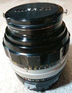 Nikkor-H Nippon Kogaku 85mm f1.8 Vintage Prime Lens Japan w Caps & Skylight
