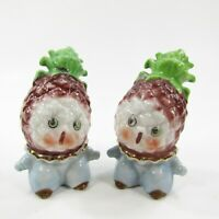 Vintage Anthropomorphic Pineapple Head People Salt Pepper Shaker Japan INV281