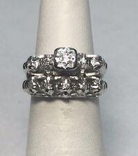 Diamond Ladies Engagement Ring Set Vintage 18 Karat White Gold Genuine