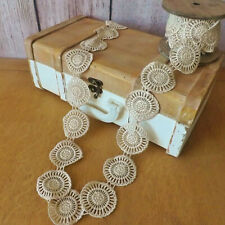 Champagne Crochet Round Lace Ribbon Wedding Bouquet Bows Trim Crafts Gift 1mt