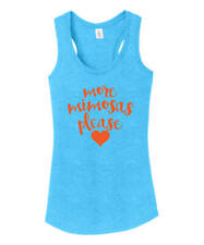 MORE MIMOSAS PLEASE turquoise tomato red/orange sexy scoop racer back tank top M