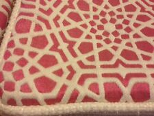 (2) Pink Natural Heavy Tapesty Embroidered Geometric Pillow Case Cover 22x14 I19