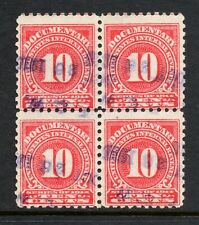 "Scott # R201, Used, Block of 4, F, 10¢ Documentary, Hand-Stamped Cancel ""F & W"""