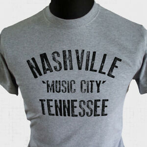 Nashville Music City Tennessee T Shirt Country Western Music Memphis Cool Grey