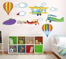 Colorato Aerei Palloni Aerostati Grande Adesivi Da Parete Stanza Bebè Boy