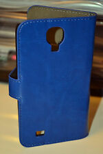Blue Genuine Leather Wallet Case Cover for Samsung Galaxy S4 i9500 i9505 LTE 4G