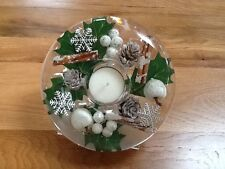 HAND MADE GLASS CANDLE HOLDER WITH FLORAL DESIGN (BROWN/GREEN)