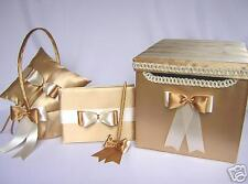 Gold Ivory Flower Girl Basket Pillow Box Customized