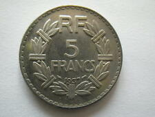 COPIE 5F 1937 de la RARE monnaie Lavriller NICKEL 5 franc 1937 REPLIQUE