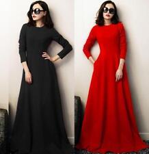 Womens Round Neck Long Sleeves Big Hemline High Waist Maxi Dress Ball Gown