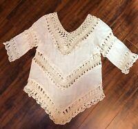 Oatmeal Cream Boho Hippie CHIC Festival Crochet Knit Hi Low Blouse Shirt Top S/M