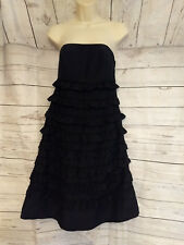 Gap Black Strapless A-Line Ruffle Dress Size 4 Party Cocktail Evening Wear
