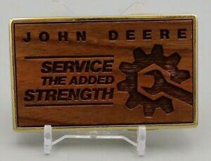 John Deere Service Woodgrain Belt Buckle