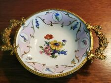 Limoges Signed Porc. Pate Serving Bowl Ormolu Mounts Hand Painted