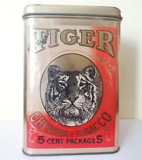 """Vintage Bright Tiger 9"""" Chewing Tobacco Tin 5 cent Packages Red Gold Container"""
