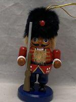 Set of 2 Nutcracker Christmas Ornaments W/Rifle Gun/King Crown&Scepter Wooden